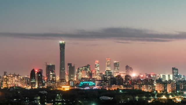t/l zo aerial view of beijing skyline at night / beijing, china - pechino video stock e b–roll