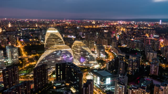T/L WS HA TU Aerial View of Beijing Skyline at Night