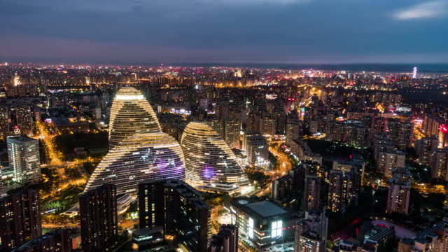 T/L HA ZO Aerial View of Beijing Skyline / Beijing, China