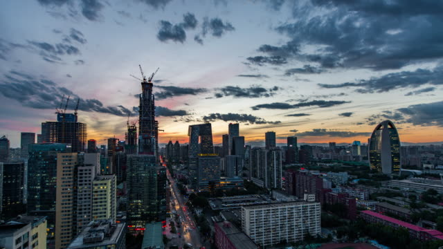 t/l ws ha zi aerial view of beijing skyline, day to night transition - international landmark stock videos & royalty-free footage
