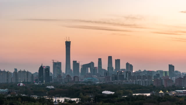 T/L ZI Aerial View of Beijing Skyline, from Day to Night