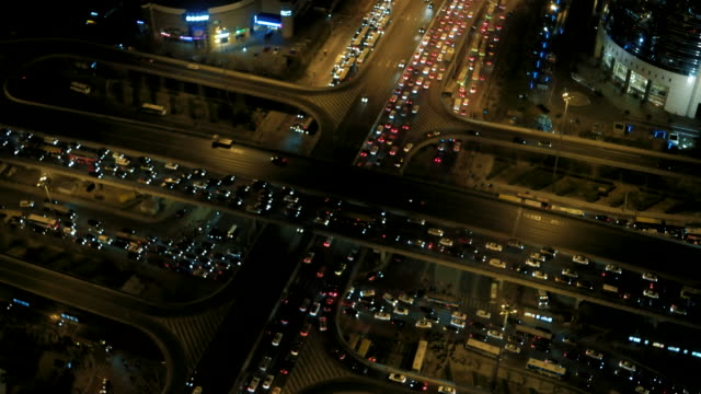 Luchtfoto van Beijing verkeersopstopping nachts