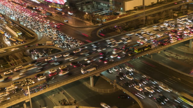 t/l ms ha td aerial view of beijing traffic jam / beijing, china - traffic jam stock videos & royalty-free footage
