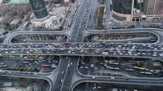 t/l ws ha zi aerial view of beijing traffic jam / beijing, china - ingorgo stradale video stock e b–roll