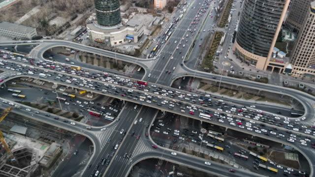 T/L WS HA TD Aerial View of Beijing Traffic Jam / Beijing, China