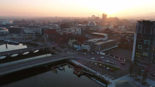 aerial view of belfast northern ireland - northern ireland stock videos & royalty-free footage