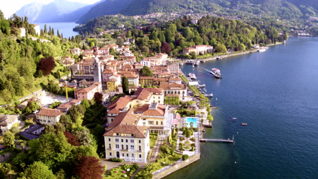 Aerial view of Bellagio town and Lake Como, Italy