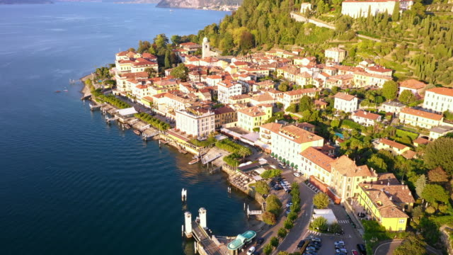 Aerial view of Bellagio village at sunset