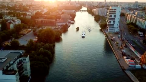 aerial view of berlin - germany - river stock videos & royalty-free footage