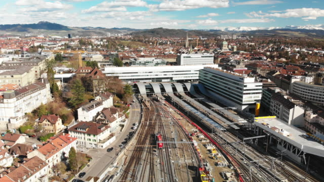 aerial view of bern, capital of switzerland - embassy stock videos & royalty-free footage