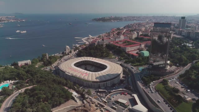aerial view of besiktas football stadium, vodafone arena. istanbul. turkey. - golden horn istanbul stock videos and b-roll footage