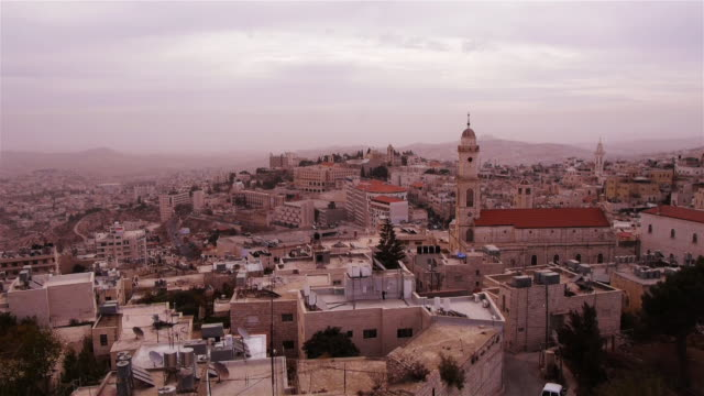 WS - Aerial View of Bethlehem during daytime, Palestine, Middle East.