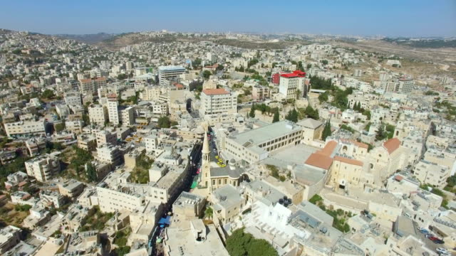 aerial view of bethlehem-a palestinian city located in the central west bank, palestine - palestine stock videos and b-roll footage