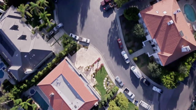 aerial view of beverly hills mansions - stately home stock videos & royalty-free footage
