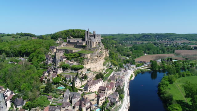 aerial view of beynac et cazenac - french culture stock videos & royalty-free footage