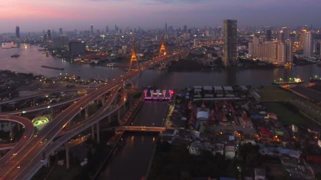 vue aérienne de la rivière chaopraya bridge passage de bhumibol à bangkok en Thaïlande