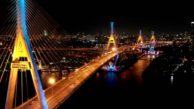 aerial view of bhumibol bridge industrial ring bridge crossing the chao phraya river twice at night - photo manipulation stock videos and b-roll footage