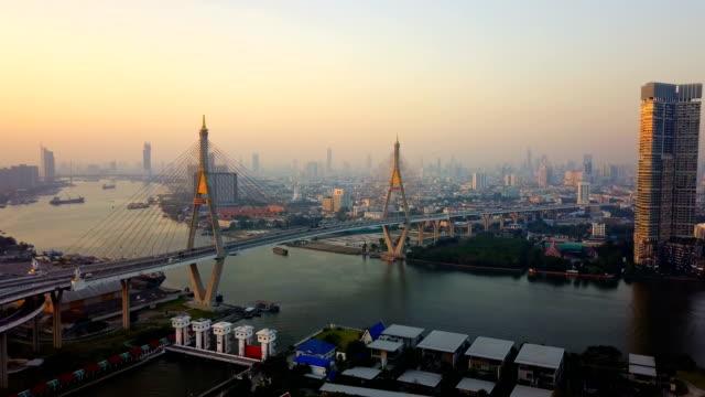 Aerial view of Bhumibol bridge Industrial Ring Bridge crossing The Chao Phraya River twice. Twilight, Sunset Scene at New landmark of Bangkok