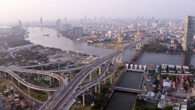 Vue aérienne du pont suspendu Bhumibol traverser la rivière Chao Phraya