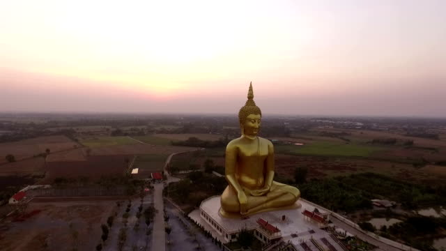 Aerial view of Big Buddha statue in thailand.
