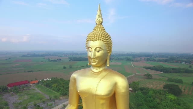 Aerial view of Big Buddha statue in Wat Muang,thailand.