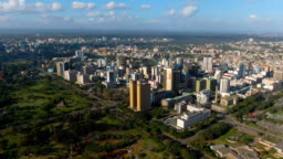 Aerial view of big city in Africa with big buildings