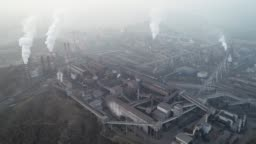 Aerial view of big factory in China. Pollution Topic