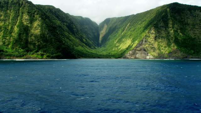 vidéos et rushes de aerial view of big island jurassic coastline hawaii - tropical