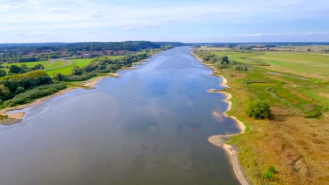 "aerial view of biosphere reserve "" niedersächsische elbtalaue "" and river elbe in lower saxony, germany - levee stock videos & royalty-free footage"