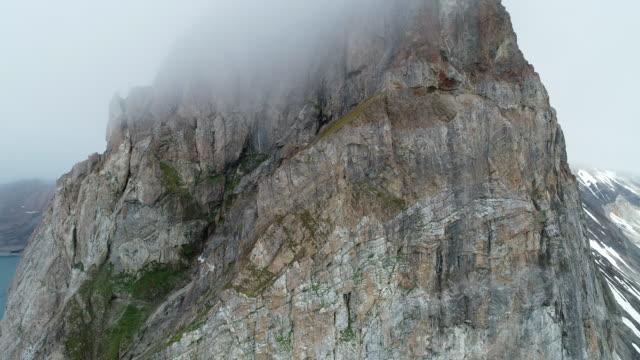 aerial view of bird cliffs at gnålodden, svalbard - スヴァールバル諸島点の映像素材/bロール