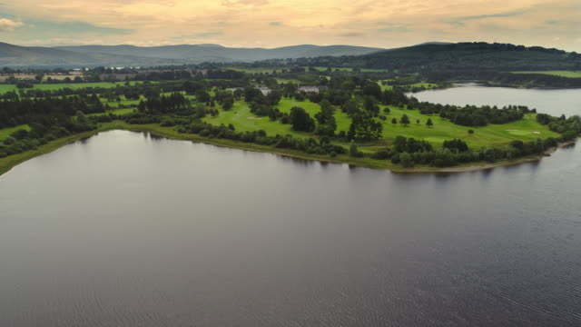 aerial view of blessington lake area in ireland - golf course stock videos and b-roll footage