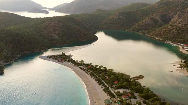 aerial view of blue lagoon in oludeniz - lagoon stock videos & royalty-free footage