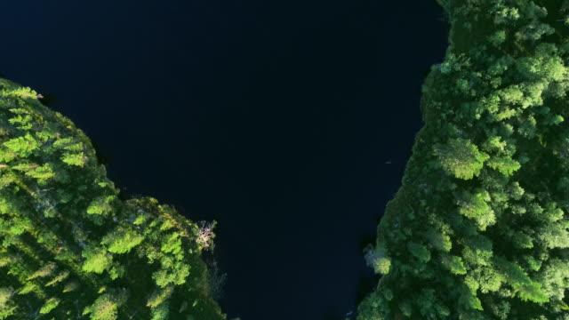 stockvideo's en b-roll-footage met luchtfoto van blauwe meren en groene bossen op een zonnige zomerdag in finland. - finland