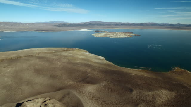 Aerial view of blue Mono Lake, located within Inyo National Forest, California.