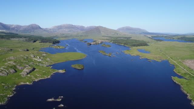 Aerial view of blue moor lakes in Connemara, Ireland