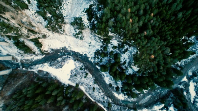 aerial view of  blue river in the mountains - land stock videos & royalty-free footage