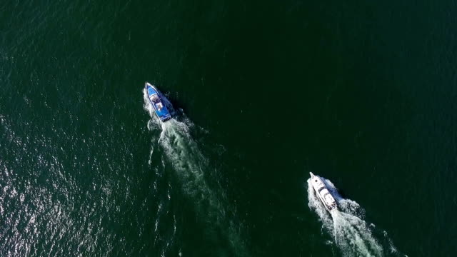 Aerial view of Boat in Bay of Petropavlovsk, Kamchatka, Russia