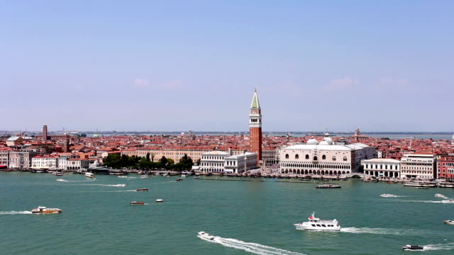 Aerial view of boat in front of the San Marco square in Venice.
