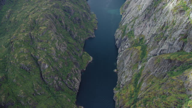 aerial view of boat moving in fjord - moss stock videos & royalty-free footage