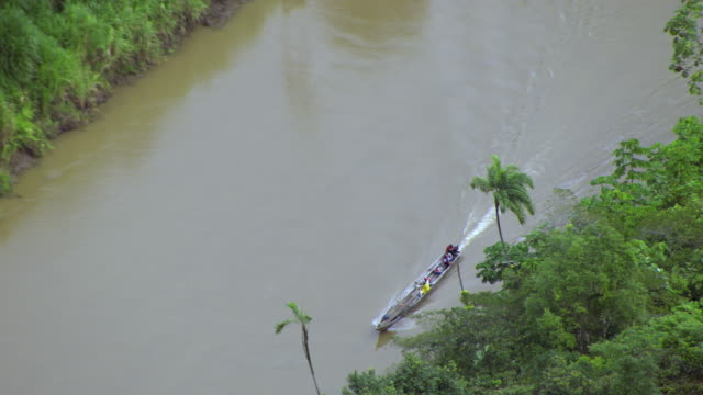 aerial view of boat moving in river, colombia - medellin colombia stock videos & royalty-free footage