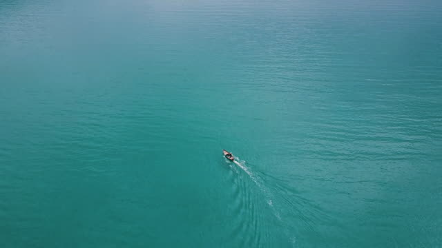 aerial view of boat on in the sea. thailand. - trat province stock videos and b-roll footage