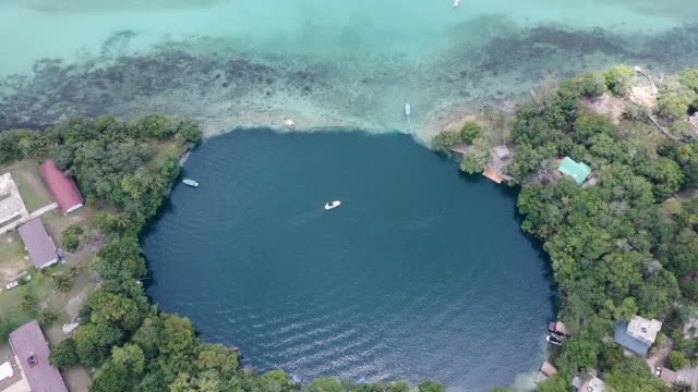 aerial view of boats at bacalar lagoon in mexico - mayan stock videos & royalty-free footage
