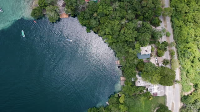 aerial view of boats at bacalar lagoon in mexico - yucatan peninsula stock videos and b-roll footage