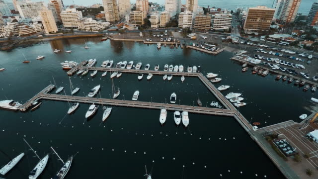 vídeos de stock, filmes e b-roll de aerial view of boats docked in marina near resorts, punta del este, uruguay - uruguai