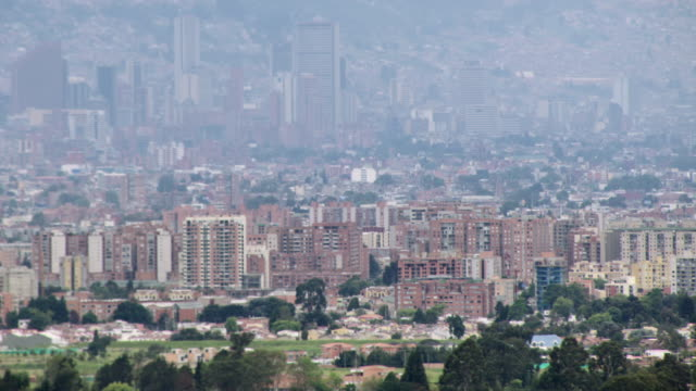 aerial view of bogota cityscape, colombia - bogota stock videos & royalty-free footage