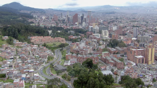 aerial view of bogota cityscape with modern skyscrapers, colombia - 1 minute or greater stock videos & royalty-free footage