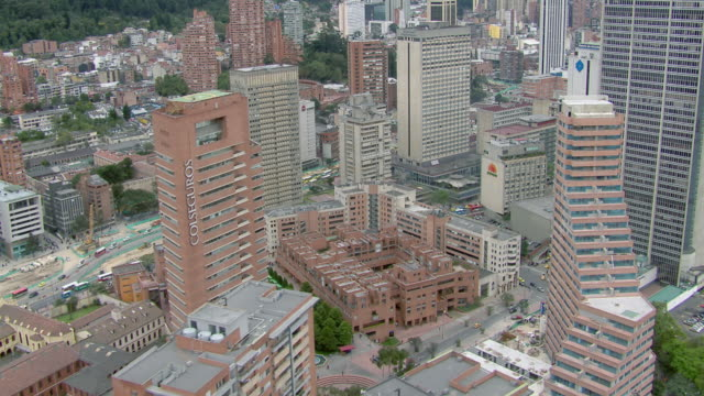aerial view of bogota cityscape with modern skyscrapers, colombia - コロンビア点の映像素材/bロール