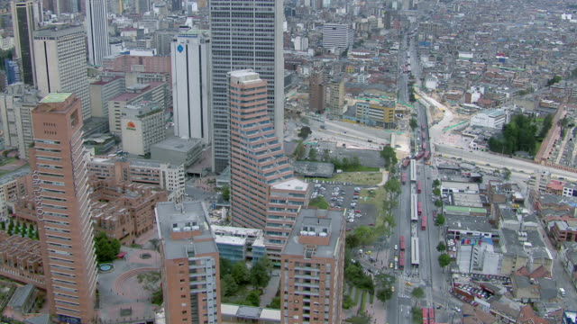 aerial view of bogota cityscape with modern skyscrapers, colombia - bogota stock videos & royalty-free footage