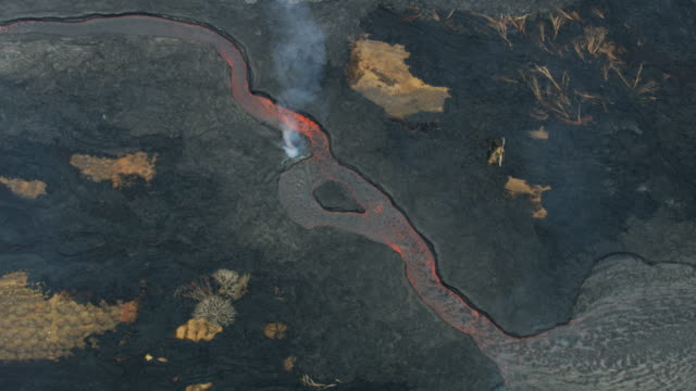 Aerial view of boiling natural red hot lava