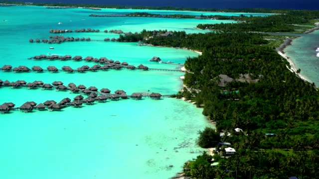 aerial view of bora bora island overwater bungalows - insel tahiti stock-videos und b-roll-filmmaterial